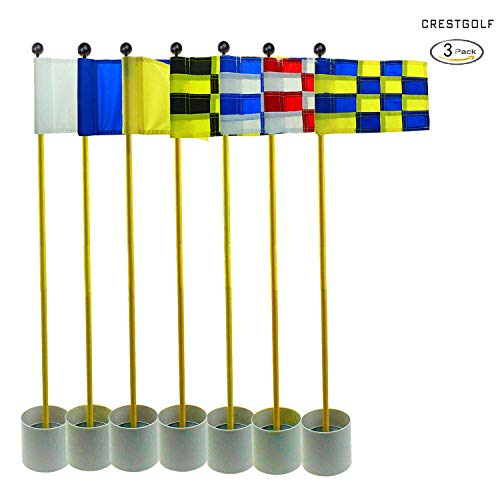 CRESTGOLF 3Sets Backyard Practice Golf Hole Pole Cup Flag Stick, 3 Section,Golf Putting Green Flagstick (randomly send mixed colors) (Golf Fedex Cup)
