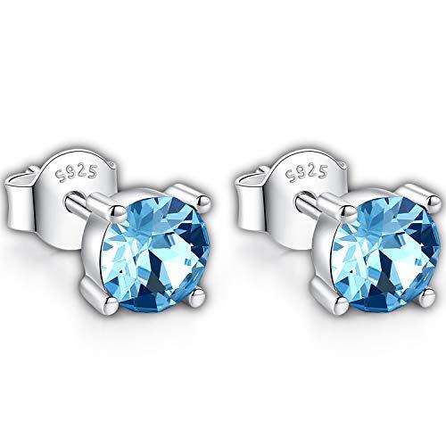 Swarovski Stud Earrings for Women - 925 Sterling Silver Crystal Earrings - Pierced Earrings for Girls - Aquamarine Blue Crystal from Swarovski Allergy-Free Passed SGS Inspection ()
