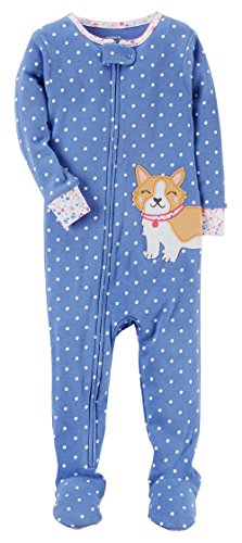 Carter's Baby Girls' 1-Piece Snug Fit Cotton Pajamas (18 Months, Blue Dog) - Carters 1 Piece Cotton