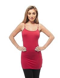Plain Long Spaghetti Strap Tank Top Camis Basic Camisole Cotton
