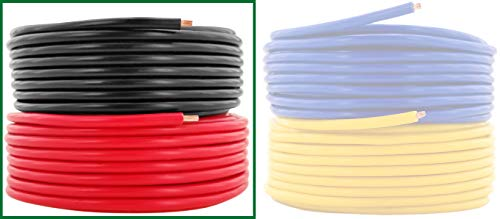 16 AWG (American Wire Gauge) Pure Copper Primary Cable for Car Audio Speaker Amplifier Remote 12 Volt Automotive Trailer Wiring | 25 feet Red & 25 ft Black Combo (Also Available in Yellow & Blue)