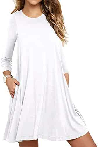 0d5c5bc6c6 Unbranded  Women s Long Sleeve Pocket Casual Loose T-Shirt Dress