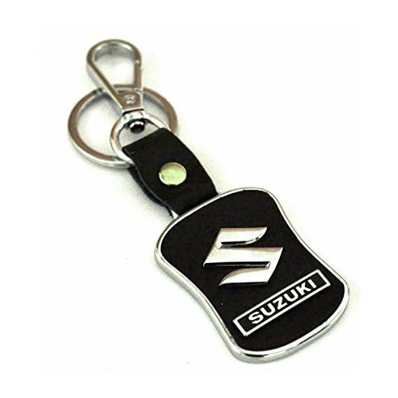 Eshop24X7 WV01RCA08061 Leather Imported Key Chain Key Ring with Chrome Car Logo