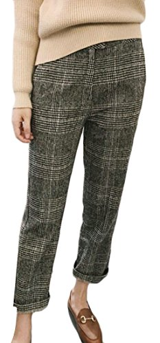 Plaid Wool Pants (Oberora-Women Slim Fit Workwear High Waist Plaid Wool Blend Straight Pants 1 M)