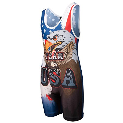 KO Sports Gear - Wrestling Singlet - Team USA (Adult XL : 160 - 195 - Running Usa Singlet