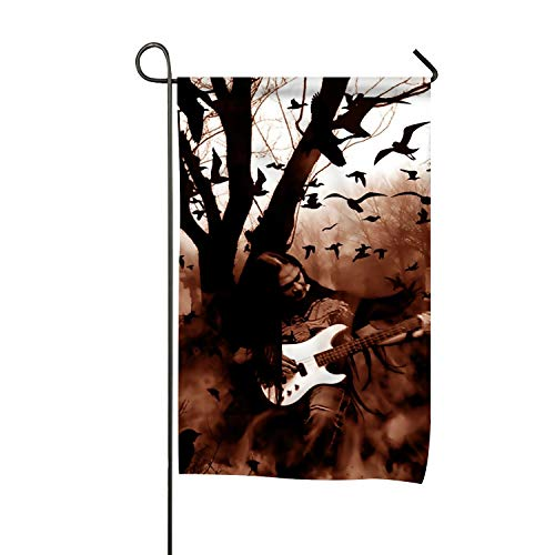 Frank Marner Holiday Halloween Black Metal Heavy Guitar Creepy Spooky Graveyard Cemetery and Quote Family Party Outdoor Yard House Garden Flags ()