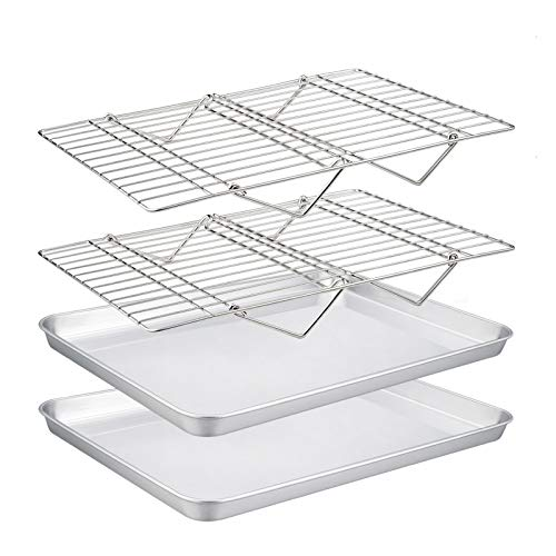 TeamFar Baking Sheet with Rack Set(2 Pans & 2 Tier Racks), Stainless Steel Cookies Sheet Baking Pans & Cooling Roasting…