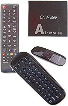 Black Wireless Mini Ultra Slim Keyboard and Mouse For Easy Smart TV Contol for Samsung UN55D6500VG Smart TV