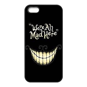 Alice in Wonderland We're all mad here Cheshire Cat Smile Face Unique Apple Iphone 5 Durable Hard Plastic Case Cover Personalized Treasure DIY
