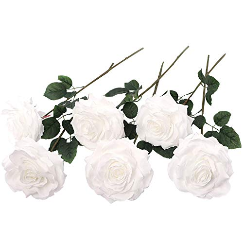 (6 Artificial White Roses, 6