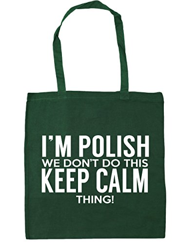 HippoWarehouse I 'm polaca que no hacer esto lo Keep Calm bolsa de la compra bolsa de playa 42cm x38cm, 10litros verde oscuro