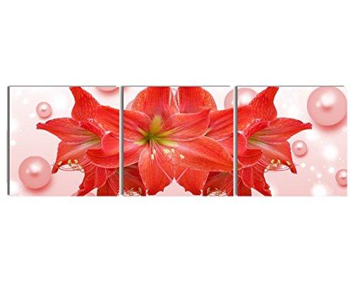 壁掛け アートパネル 【AP013 レッドフラワー 花 40×60㎝×3パネルセット】厚地25㎜キャンバス 印刷布製 キャンバスアート 壁飾り B07DR6156F 11748