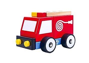 Tooky Toy - Coche de bomberos de madera con ruedas para niños a partir de 18 meses: Amazon.es: Juguetes y juegos