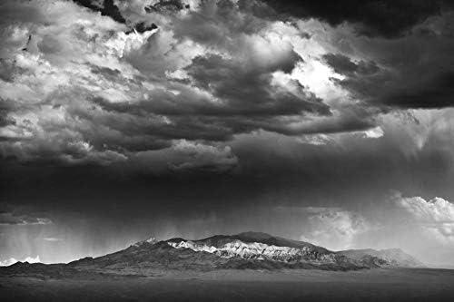 山の向こうの嵐の醸造壁紙-自然の壁紙-#26277 - 白黒の キャンバス ステッカー 印刷 壁紙ポスター はがせるシール式 写真 特大 絵画 壁飾り 90cmx60cm