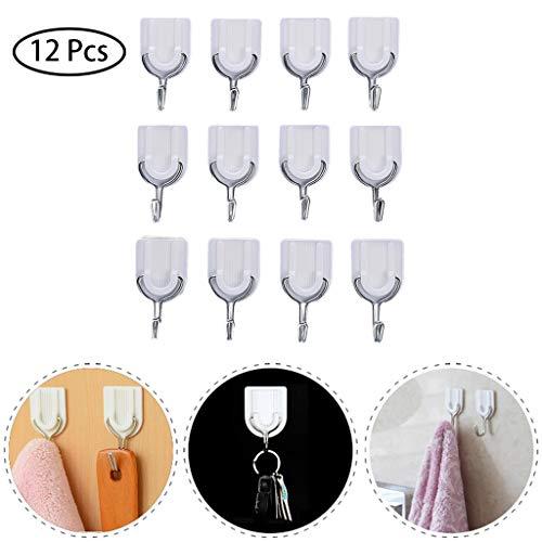LtrottedJ Strong Adhesive Hook Wall Door Sticky Hanger Holder Kitchen Bathroom White 12PCS ()