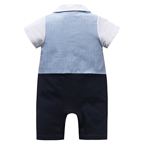 Baby Boy Suit, Toddler Short Sleeve Rompers Infant Outfit Onesie with Bow tie, 95, Blue