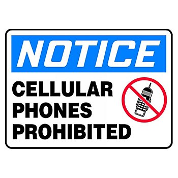 7X10in Vinyl Notice Cellular Phones Prohibited Sign 4 Pack
