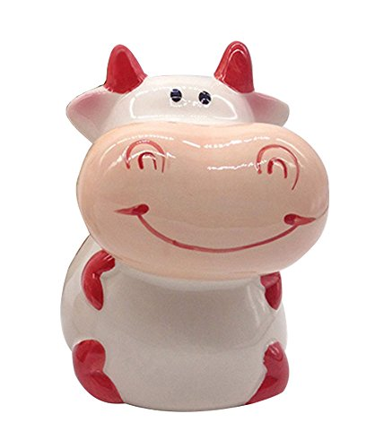 ZCHING Cute Cow Ceramic Piggy Bank Personalized Money Saving Bank for Kids Girls Boy Nursery Gift (red) (Cow Money Box)