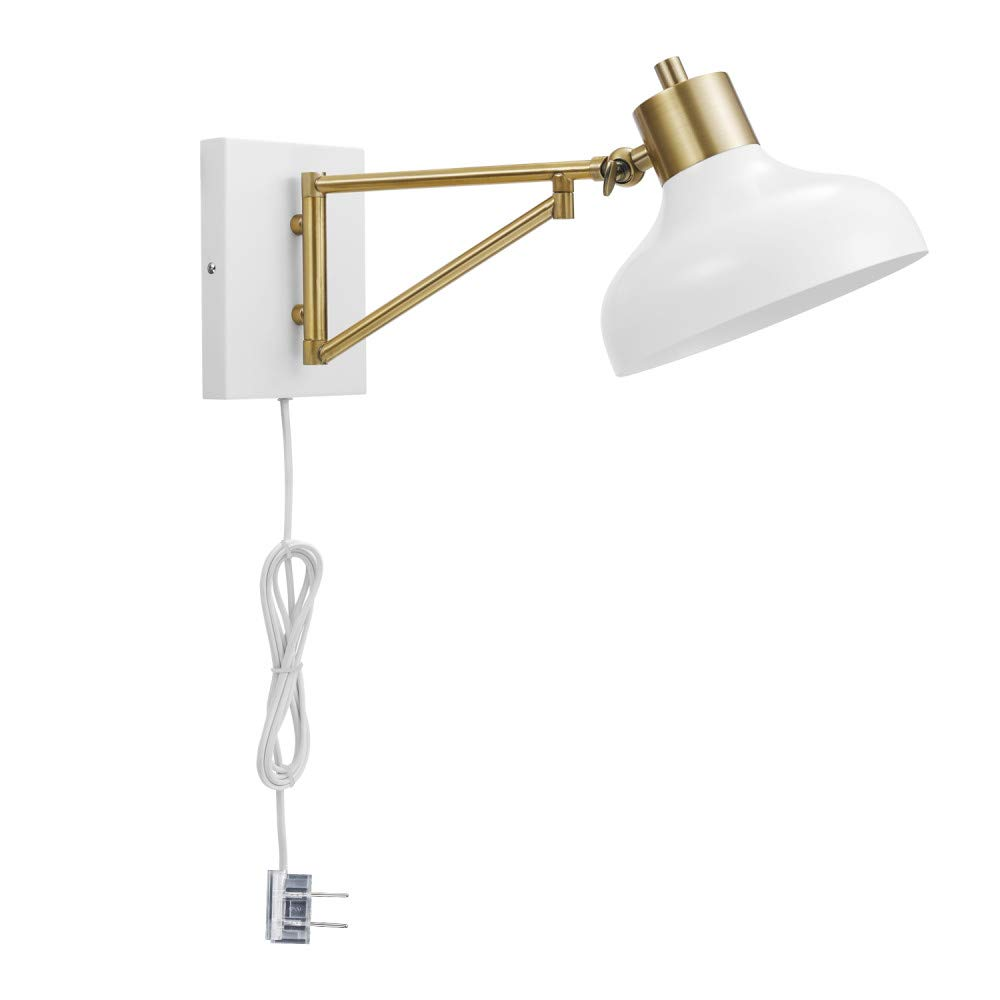 Globe Electric Berkeley 1-Light Plug-In or Hardwire Swing Arm Wall Sconce, White, Brass Accents, White Cloth Cord 51344