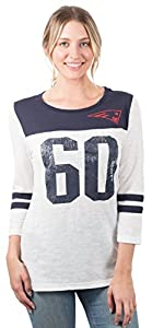 NFL Women's New England Patriots T-Shirt Vintage Distressed 3/4 Long Sleeve Tee Shirt, Small, White