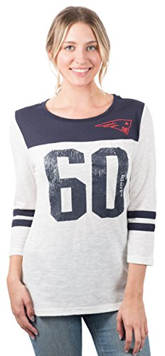(Icer Brands NFL New England Patriots Women's T-Shirt Vintage 3/4 Long Sleeve Tee Shirt, Large, White)