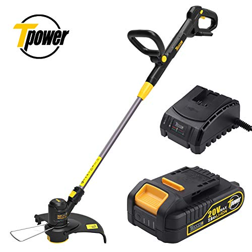 "TECCPO String Trimmer, 12"" 20V Lithium Ion, Cordless, Pivoting Head, Telescopic Shaft and Automatic Feed Spool Grass Trimmer, with 16Feet Nylon Thread, Battery and Charger Include – TDLT02G"