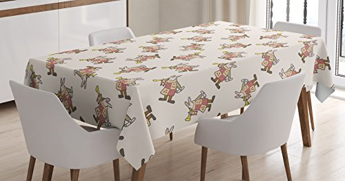 Ambesonne Alice in Wonderland Decorations Tablecloth, White Rabbit Playing Music Fiction Fantastic Home Wall Alice, Rectangular Table Cover for Dining Room Kitchen, 60x90 Inches, Pink Brown Yellow (Luxurious Home Decor)