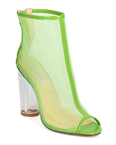 [Women Sheer Lucite Heel Bootie - Dressy, Date Night, Costume - Block Heel Bootie - GC99 By Cape Robbin - Green (Size:] (Kiddie Costume For Sale)