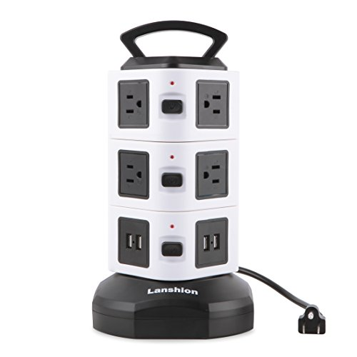 Lanshion Tower Power Strip with Individual Switches,4 USB Ports 10 Outlets with 9.8ft Retractable Cord Vertical Surge Protector Plug for Home and Office ()