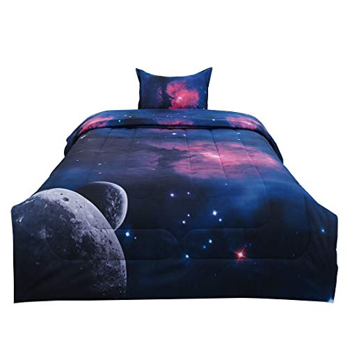 - uxcell Twin 2-Piece Galaxies Fuchsia Comforter Sets - 3D Space Themed - All-Season Down Alternative Quilted Duvet - Reversible Design - Includes 1 Comforter, 1 Pillow Case