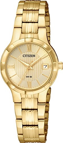 Citizen Women's Quartz Stainless Steel Casual Watch, Color:Gold-Toned (Model: ()