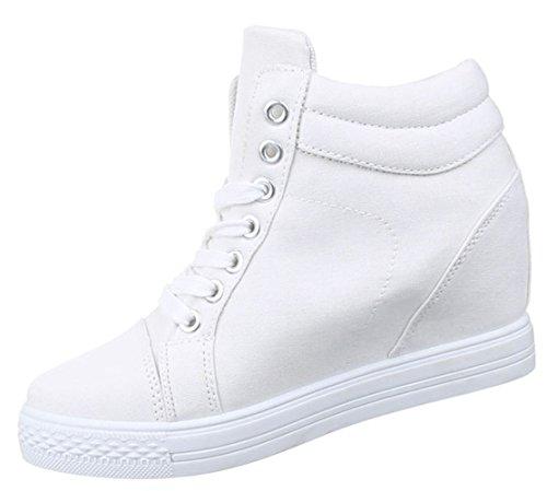 ... Damen Sneaker Schuhe Freizeitschuhe Keilabsatz Wedges Stiefelette  High-Top Schwarz weiss gelb 36 37 38 ... 96aac1440d