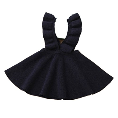 Knit Girls Overalls (Birdfly Little Girls Ruffles Overalls Dress Knit Twirly Dresses Cute A-Line Skirt Toddlers Casual Wear for School Fall Winter Playwear (6T, Navy))