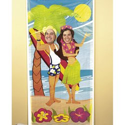 [Fun Express Luau Couple Face Photo Door Banner Poster Party Decor] (Cars Land Costumes)