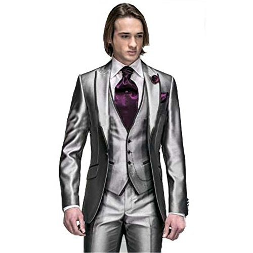 Korea-Satin Silver With Black Brim Man Groom Tuxedos Wedding Suits Best Man Tuxedos/Bridegroom Suit