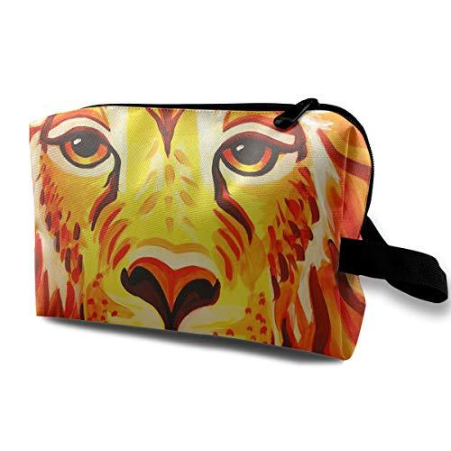 Travel Makeup Cosmetic Bag Brush Pouch Lion Face Paint Zipper Pen Organizer Carry Case ()