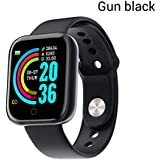 RONSHIN Electronics Y68 Smart Watch Waterproof Bluetooth Sport SmartWatch Support for iPhone Xiaomi Fitness Tracker Heart Rate Monitor Built-in 150mAh Battery USB Charging Gun Black