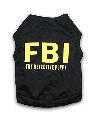 DroolingDog Dog Shirt Dog FBI Costume Pet Police Clothes T Shirts for Small Dogs, Medium, Black