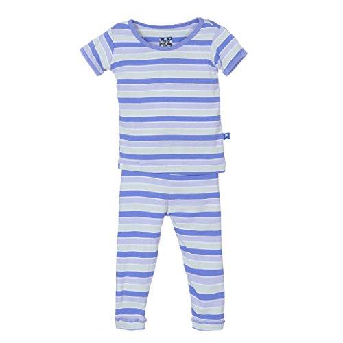 Kickee Pants Print Short Sleeve Pajama Set, Girl Tropical Stripe, 7