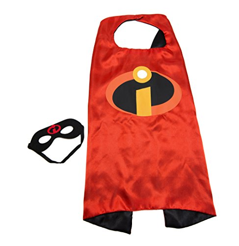Kids Capes Superhero and Princess Cape and Mask Sets, Great for Dressing Up with Costumes & Playing (Incredibles)