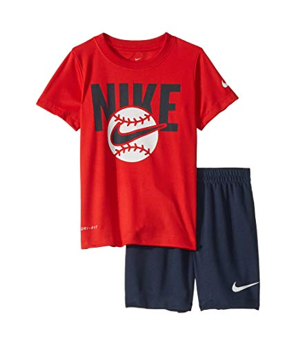 Nike Kids Outfit - Nike Kids Boy's Sport Short Sleeve Tee & Shorts Set (Little Kids) Obsidian 7