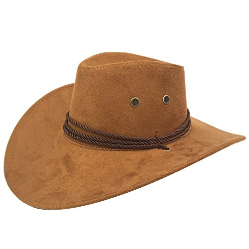 Sandy Ting Men's Outback Faux Felt Wide Brim Western Cowboy Hat (Brown)