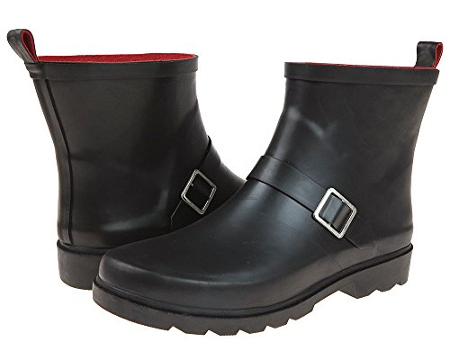Capelli New York Ladies Matte Short Rain Boots with Ankle Buckle Strap Black ()