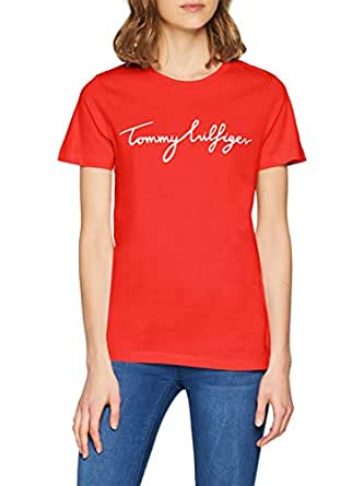 TOMMY HILFIGER Women's Aila Crew Neck Short Sleeve Logo T-Shirt, Flame Scarlet, X-Small