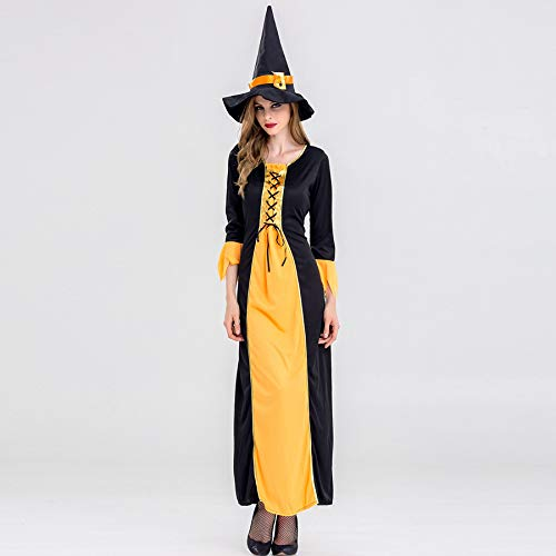 Mengjie Holloween Costume Adult Yellow Witch Costume Bar Party Performance, Yellow, M -