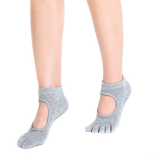 dedos Claro Fletion antideslizantes Gris yoga,calcetines calcetines Ssowun mujer dedos FEqvH4Hxn