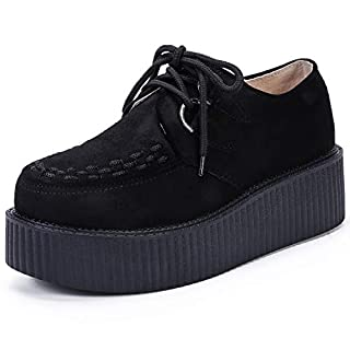 Women's Creepers Wedge Platform Shoes Lace-Up Flat Fashion Oxford Black Size 6 B(M) US