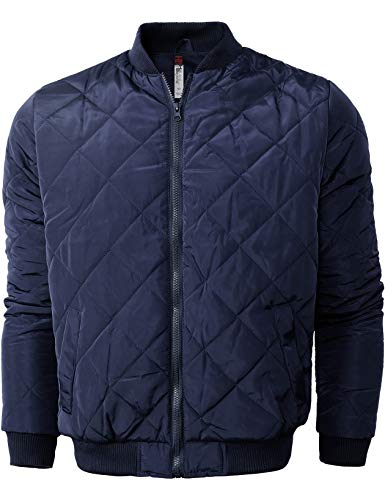 Hat and Beyond Mens Quilted Padded Bomber Jackets Lightweight Casual Zip Up Insulated Puffer (4010_Navy, X-Large)