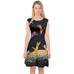 PattyCandy Womens Black Kitty Cats In Space Capsleeve Midi Dress, Black - S