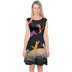 PattyCandy Womens Black Kitty Cats In Space Capsleeve Midi Dress, Black - S